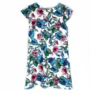 Ces Femme White Floral Flutter Sleeve Shift Dress